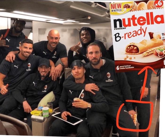 Гонсало Игуаин прячет коробочку с батончиками Nutella