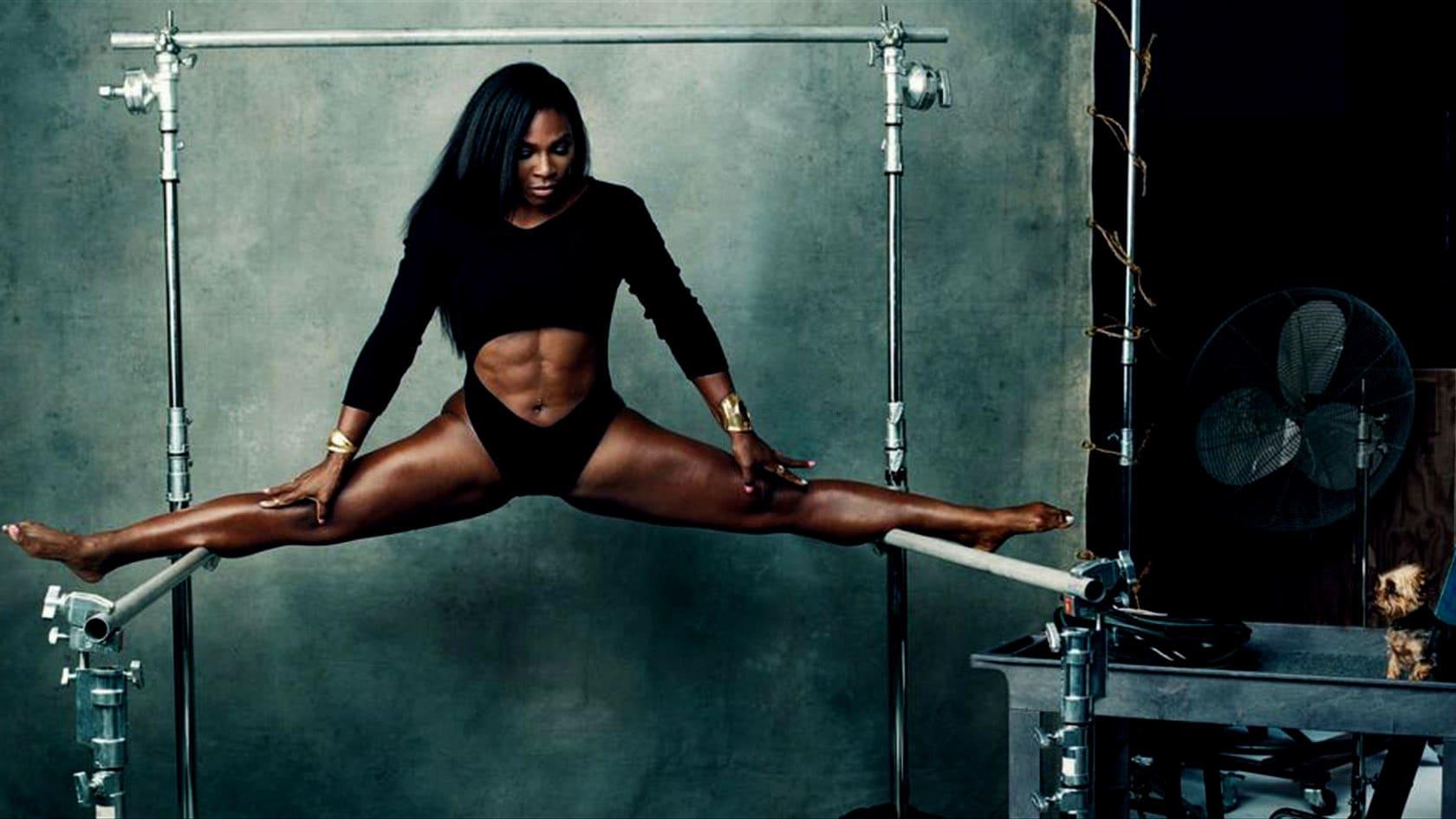 Серена Уильямс занимается гимнастикой