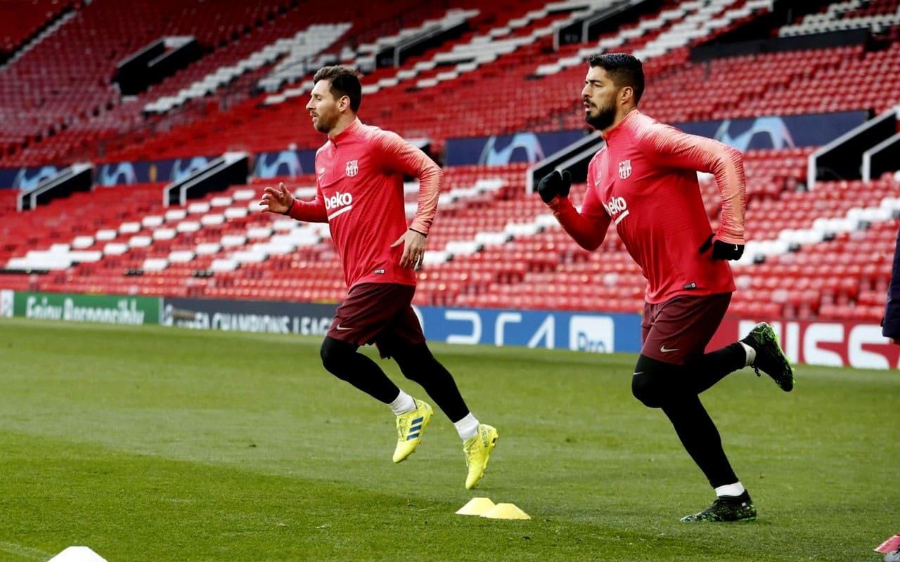 Месси и Суарес на тренировке Барселоны