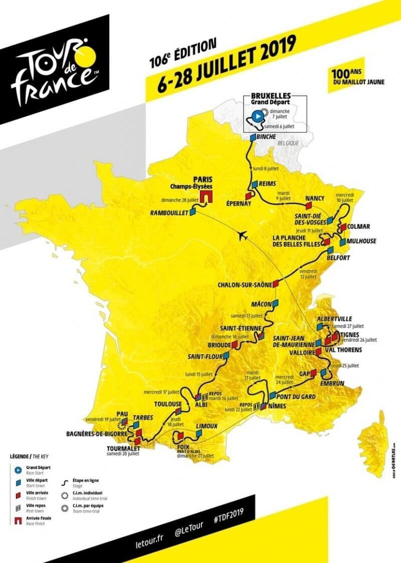 Тур де Франс 2019 карта