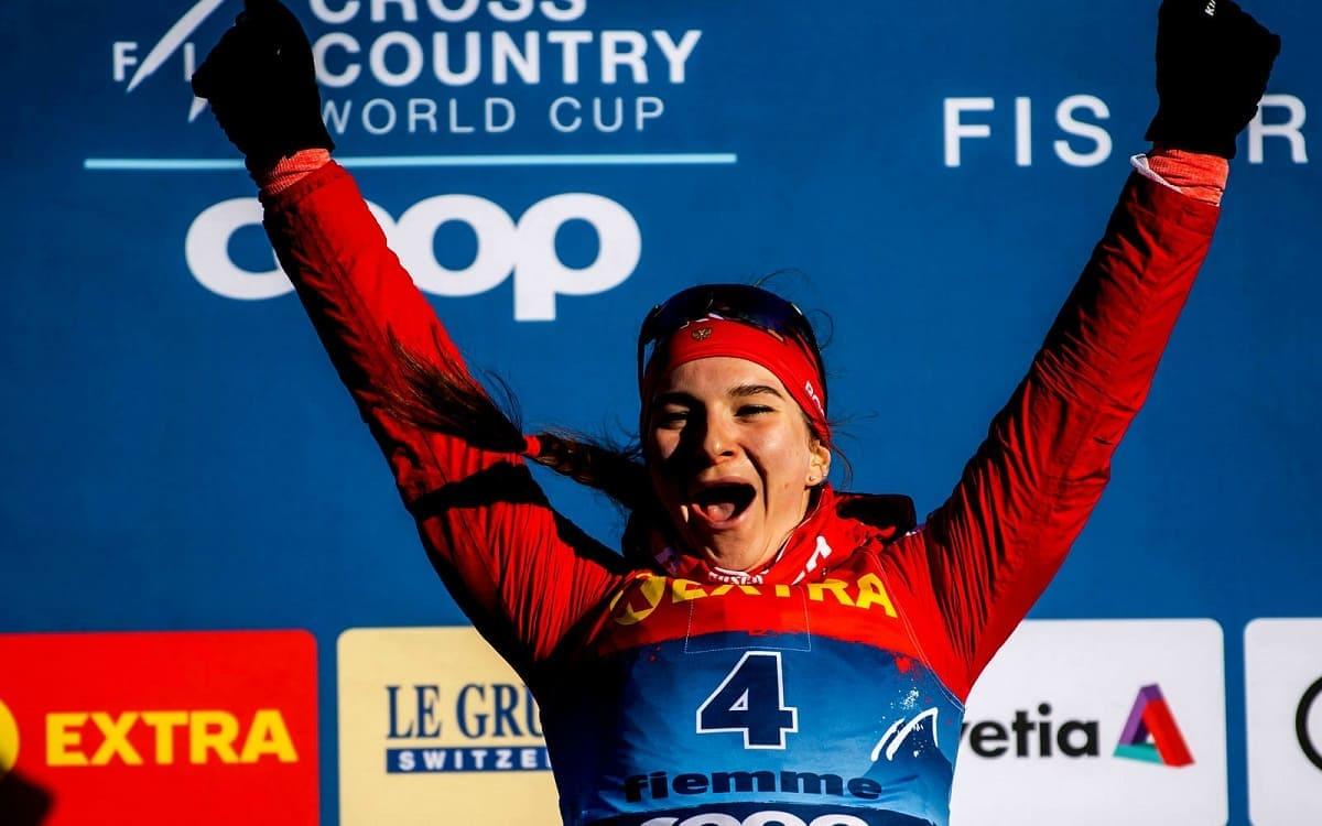 Наталья Непряева на этапе Кубка мира по лыжным гонкам в Нове-место