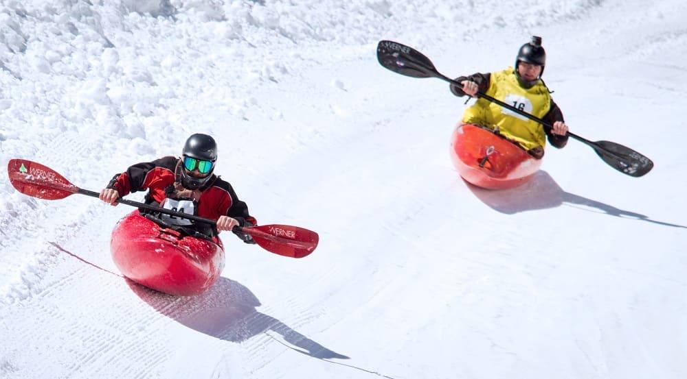 Самые необычные зимние виды спорта - Байдарки на снегу